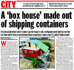 Shipping Container Home featured in Bangalore Mirror