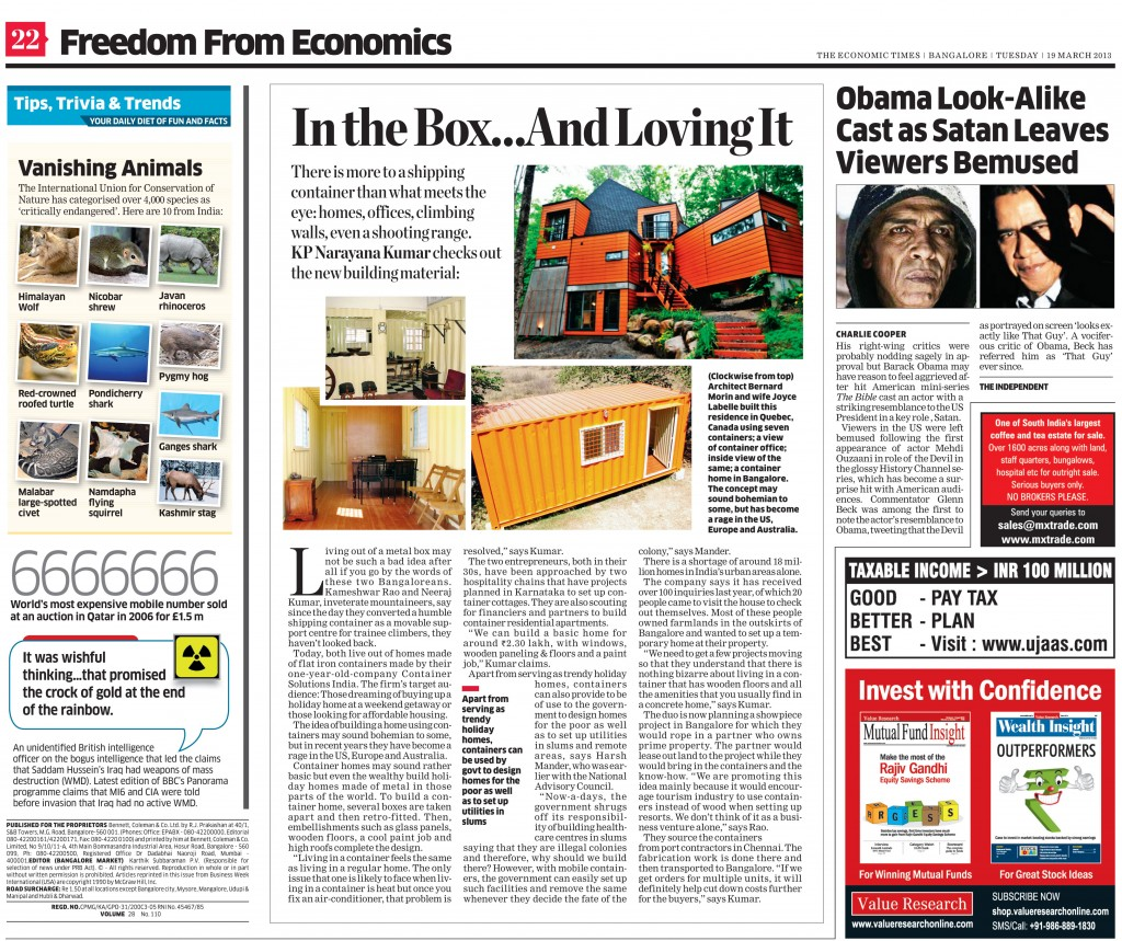 Economic Times 19th Mar 2013 Article